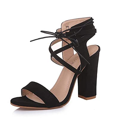 41459c01f24 Women s Lace Up Chunky Block Heeled Sandals Ankle Strap High Heels Black ...