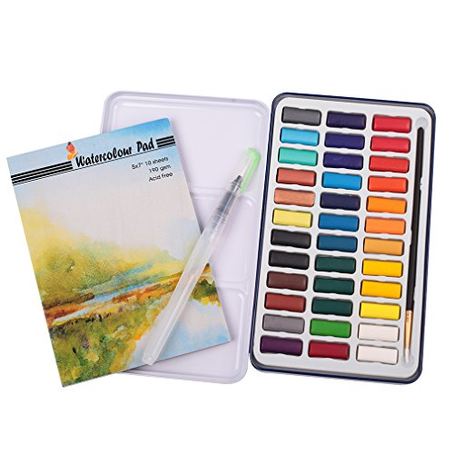 Falling in Art Watercolor Paint Set, 36 Water Cakes Pan with Water Brush and Paper Pad]()