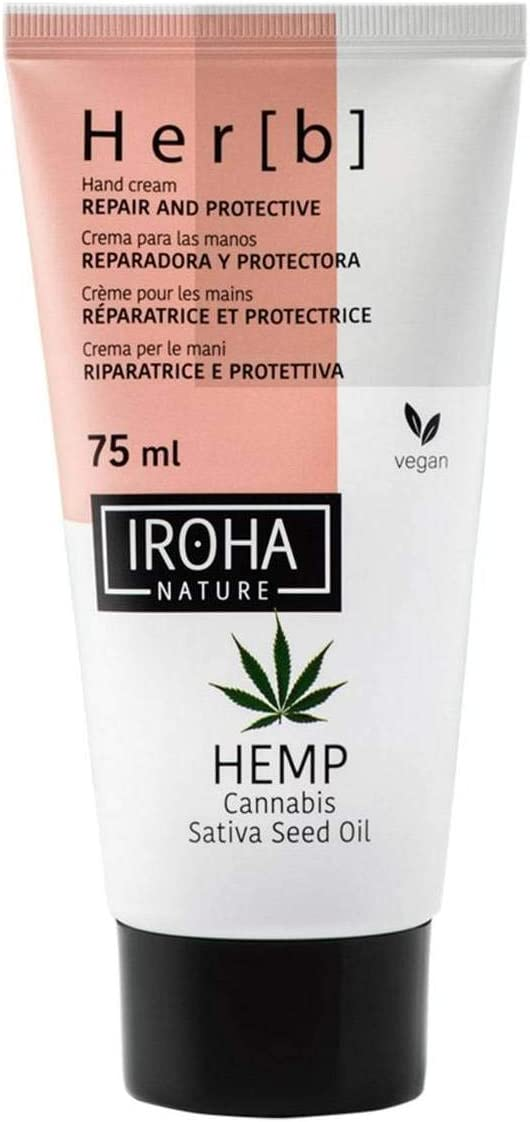 Iroha Nature - Crema de Manos & Uñas Reparadora & Protectora con Aceite de Semilla de Cannabis, 1 unidad (75ml.) | Crema de Manos y Uñas Nutritiva y Reparadora Hemp Oil