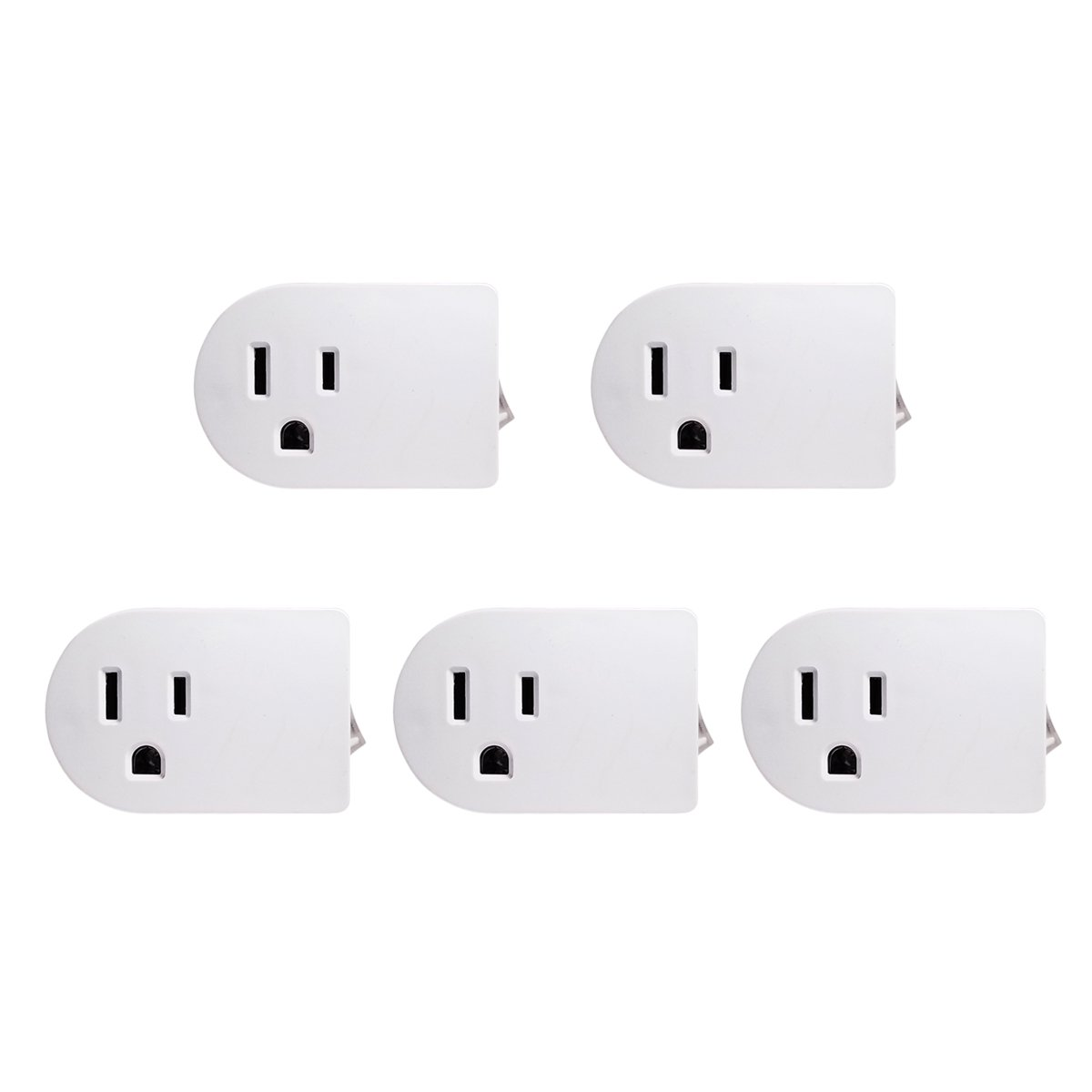 (5 Pack) Uninex White Grounded On/Off Power Switch with Amber Light ETL
