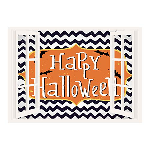 (SCOCICI Wall Mural, Removable Sticker, Home Décor/Halloween,Cute Halloween Greeting Card Inspired Design Celebration Doodle Chevron Decorative,Indigo White Orange/Wall Sticker)