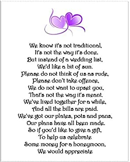 24 X Wedding Honeymoon Money Gift Request Poem Cards For Invitations