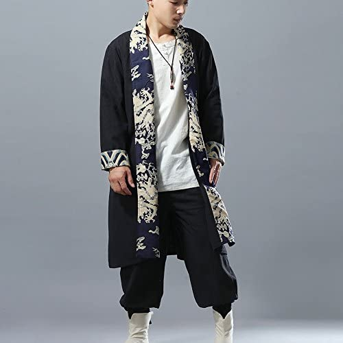 Mens Cotton Linen Long Trench Vintage Open Front Cardigan with Dragon Print