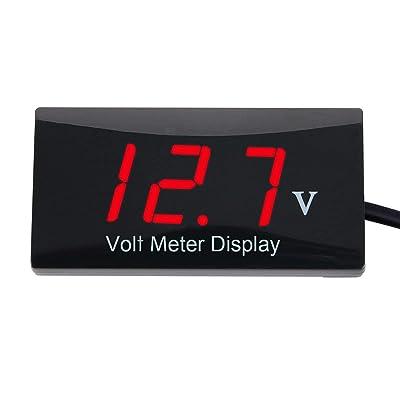 Zealforth DC 12V Digital Voltmeter - LED Display Voltage Volt Meter Gauge for Car Motorcycle (red): Home Improvement