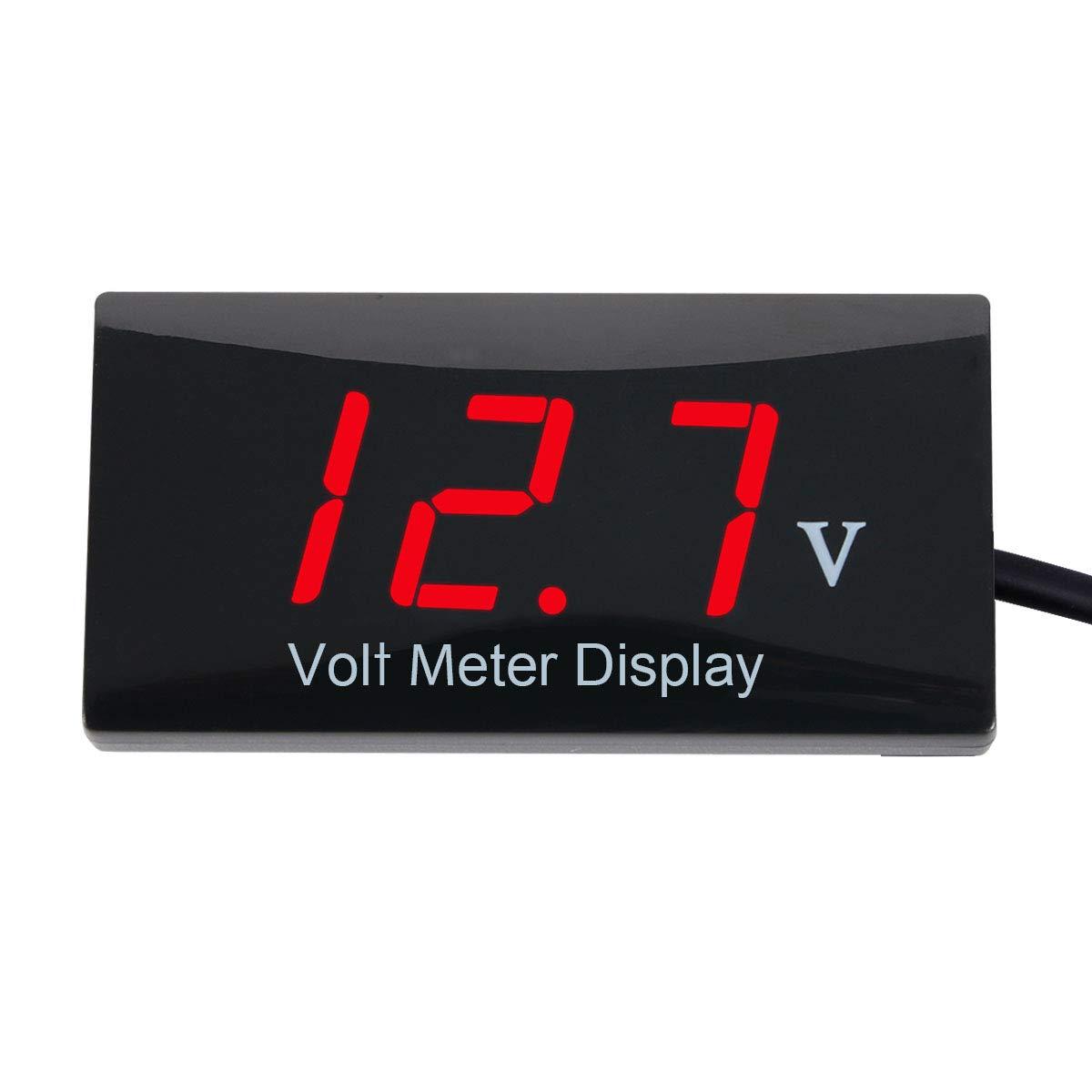 Zealforth DC 12V Digital Voltmeter - LED Display Voltage Volt Meter Gauge for Car Motorcycle (red) by Zealforth