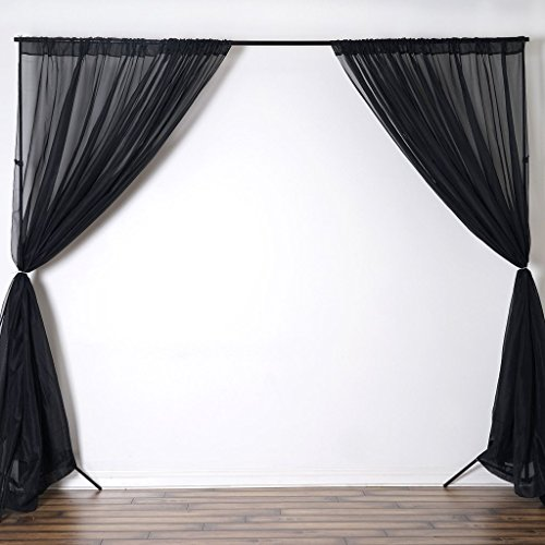 Efavormart 10FT Fire Retardant Black Sheer Voil Curtain Panel Backdrop for Window Wall Decoration - Premium Collection