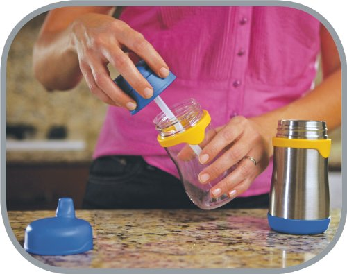 THERMOS FOOGO Vacuum Insulated Stainless Steel 10-Ounce Straw Bottle, Blue/Yellow by Thermos (Image #6)