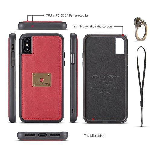 JIALUN-Caja del teléfono o cubierta Estuche CaseMe para iPhone X con diseño de 360 rotativos para el anillo de dedo y cubierta trasera magnética Protege tu teléfono ( Color : Coffee ) Red