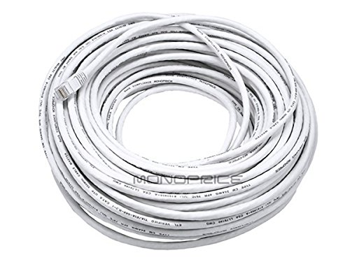 Monoprice Cat6 Ethernet Patch Cable - Network Internet Cord - RJ45, Stranded, 550Mhz, UTP, Pure Bare Copper Wire, 24AWG, 100ft, White (Awg Patch Cord 24)