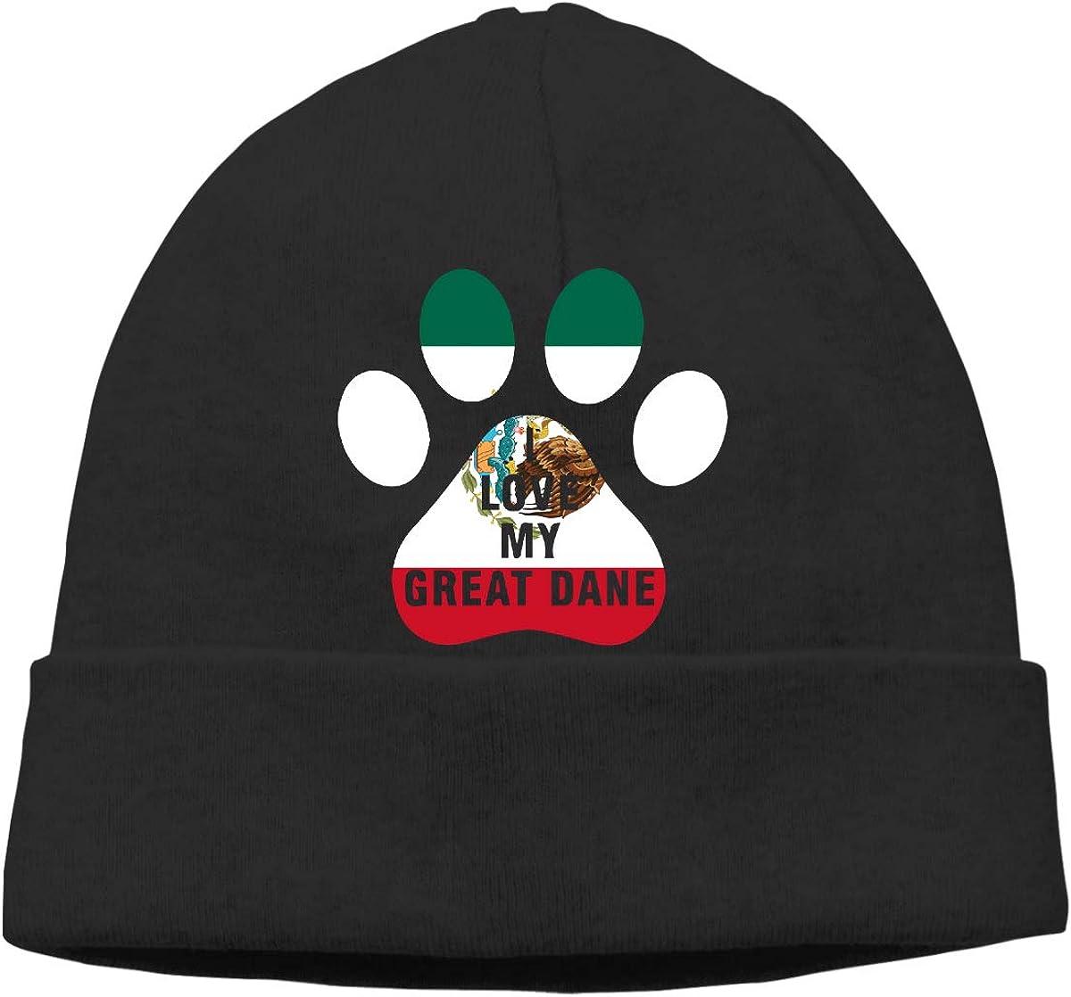 I Love My Great Dane Dog Mexico Flag Men Women Helmet Liner Running Beanie Cap