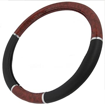 BDK Two-Tone 14.5-15.5 Woodgrain Pattern Dark Wood Steering Wheel Cover Black