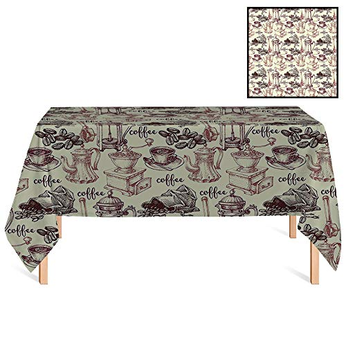 SATVSHOP Tablecloth /36x36 Square,Kitchen Coffee Beans with Old Espresso Machine in Sketch Hand Drawn Image Egg Shell Dried Rose Brown.for Wedding/Banquet/Restaurant.