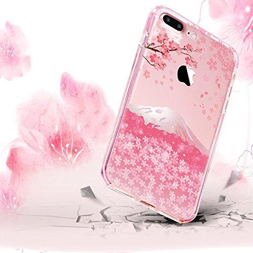 iPhone 6 Plus Caso , Custodia iPhone 6S Plus (5.5) ,Bonice TPU Morbido Ultra Slim Soft TPU Paesaggio Scenario Case + 1x Protezione Dello Schermo Screen Protector , Cherry Blossoms