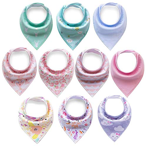 Cherub 10-Pack Baby Bandana Drool Bibs for Drooling and Teething Boys Girls ()