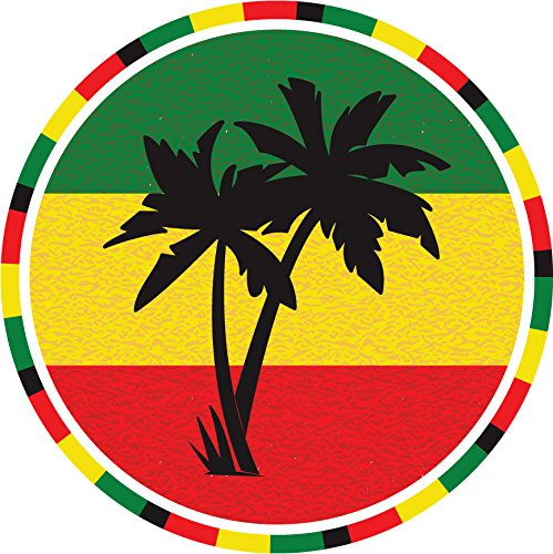Rastafarian Flag Palm Label Home Decal Vinyl Sticker 12'' X 12'' ()
