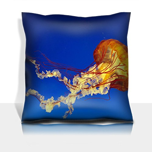 Liili Throw Pillowcase Polyester Satin Comfortable Decorative Soft Pillow Covers Protector sofa 16x16, 1pack orange bell jellyfish in osaka aquarium Japan IMAGE ID 12776924