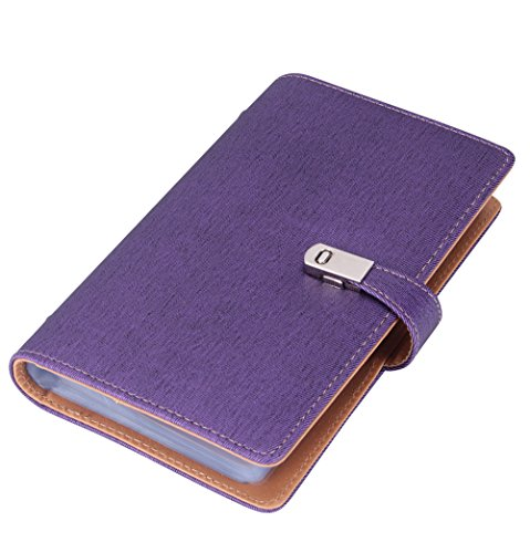 Name Card Book Holder Business Card Organizer for 240 Cards (purple) (Personal Credit Card Holder)