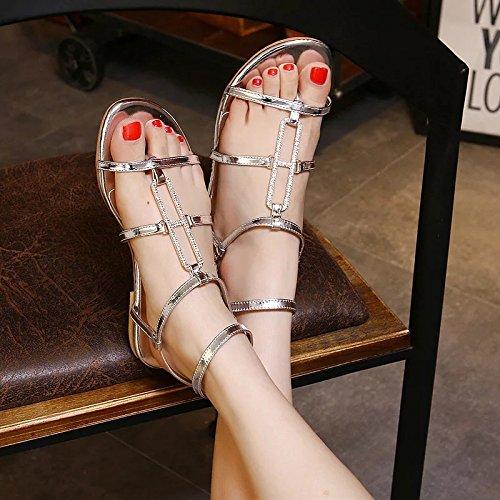 WSS chaussures à talon haut Chasuble sandales. sandales plate strass