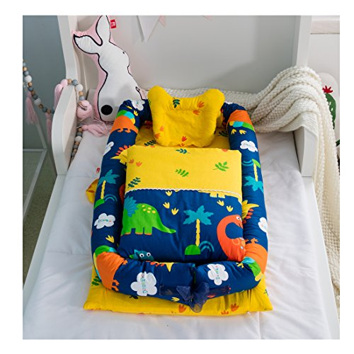 Cotton Detachable Baby Nest,Quilt and Pillow for 0-24 Months Baby (Dinosaur) by BestBang