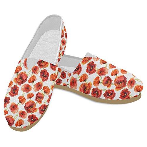 Mocassini Da Donna Di Interestprint Classico Su Tela Casual Slip On Scarpe Moda Sneakers Mary Jane Flat Poppy