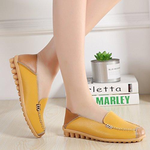 VenusCelia Women's Comfort Walking on Air Flat Loafer(6 B(M) US,Yellow) by VenusCelia (Image #2)