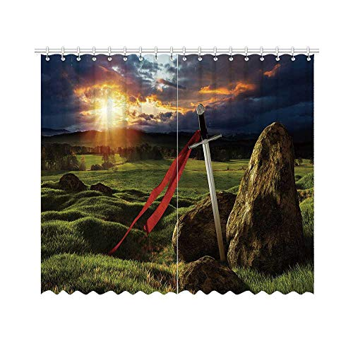 YOLIYANA King Shade Curtain,Arthur Camelot Legend Myth in England Ireland Fields Invincible Sword Image for Office,70