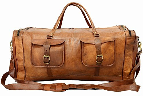 30' Luggage (Real Goat Leather Large Handmade Travel Luggage Bags in Square Big bag 30''inch)