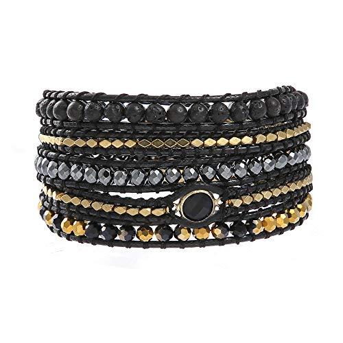 IUNIQUEEN Unisex Hematite Rock Lava Crystal Bead Bracelet-Essential Oil Diffuser Energy 5 Wraps Adjustable Statement Bracelet