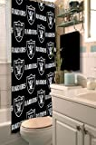 Oakland Raiders COMBO Shower Curtain, Matching Shower Curtain Rings & Set of (Four) Appliqué Bath Towels with Team Logo - Decorate your Bathroom & SAVE ON BUNDLING!