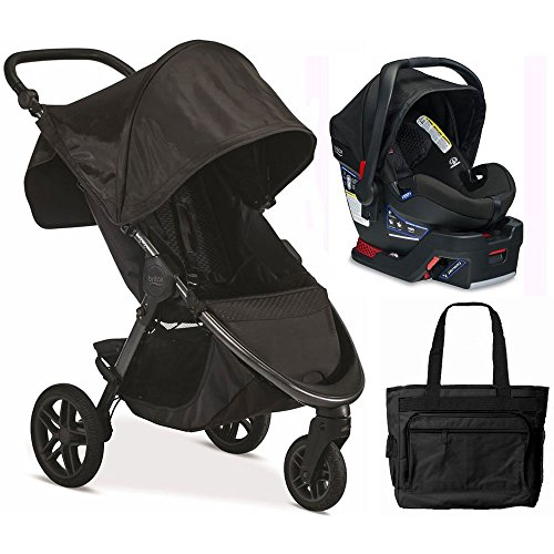 Britax B-Free / B-Safe 35 Infant Baby Stroller Travel System – Midnight with Diaper Bag