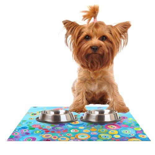 Kess InHouse Catherine Holcombe Inner Circle Blue Feeding Mat for Pet Bowl, 24 by 15-Inch by Kess InHouse