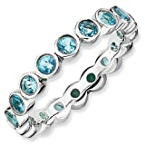 3.5mm Sterling Silver Stackable Expressions Bezel Set Blue Topaz Eternity Ring
