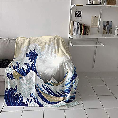 Suchashome Wave Ultralight Blanket,Hokusai Pattern Japanese Ukiyoe Themed Asian Oriental Sketch Style Ocean,Print Summer Quilt Comforter,All Season Blanket 57