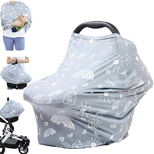 Breastfeeding Nursing Cover Carseat Canopy - Multi Use Infant Stroller Cover, Car Seat Covers for Babies, Nursing Scarf, Baby Shower Gifts for Boys and Girls (Grey Creativity)