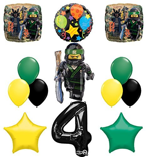 Mayflower Products The Ultimate Lego Ninjago Forth 4th Birthday Party Supplies and Balloon Decorations]()