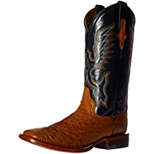 Ferrini Western Boots Mens Smooth Ostrich Cognac Navy 10293-02