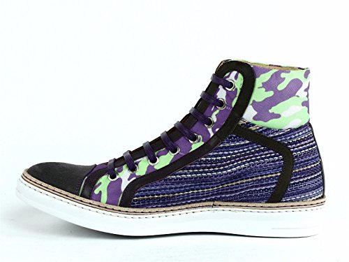 Robert Graham Mens Hizza Hi Top Fashion Sneaker Blu