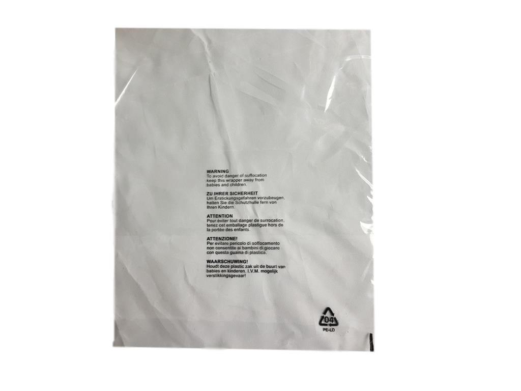 (Confezione da 100) 290 x 375 mm, Granp abbigliamento indumento t-shirt buste trasparente protezione display 5 lingua con sicurezza bambini Suffocation warning imballaggio –  Buste mail Sacks Poly Mailers Granplasta
