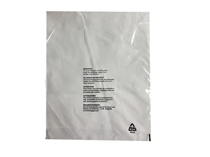 (Pack of 100) 290 x 375 mm, Granp ropa ropa camiseta bolsas transparente protección pantalla 5 Idioma correo sacos con niño seguridad advertencia de ...