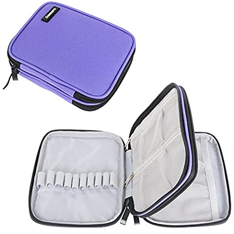 Damero Crochet Hook Case, Organizer Zipper Bag with Web Pockets for Various Crochet Needles and Knitting Accessories, Well Made, Small Volume and Easy to Carry, Purple (No Accessories Included)