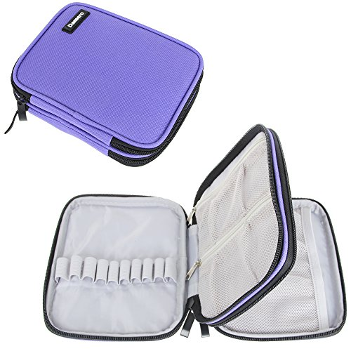 Damero Organizer Zipper Case for Crochet Hook and Accessories, Purple (No Accessories Included)