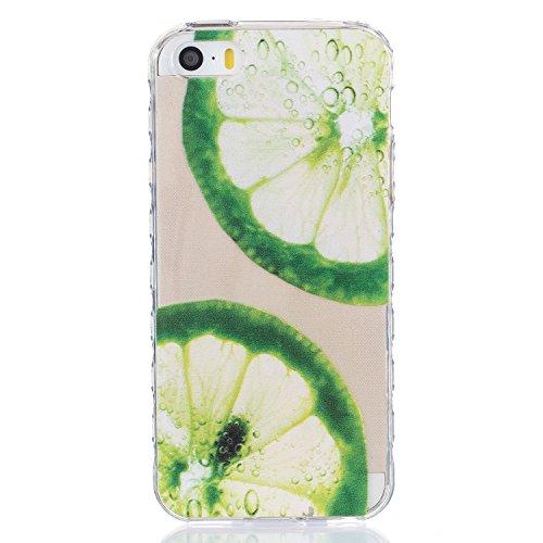 Für Apple iPhone 5 5G 5S / iPhone SE (4 Zoll) Hülle ZeWoo® TPU Schutzhülle Silikon Tasche Case Cover - BF079 / Zitrone