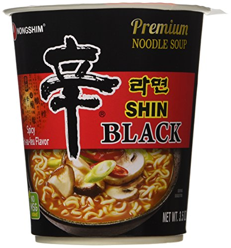 Nongshim Shin Black Premium Noodle Soup, 3.56 oz x 8 (Asian Beef)