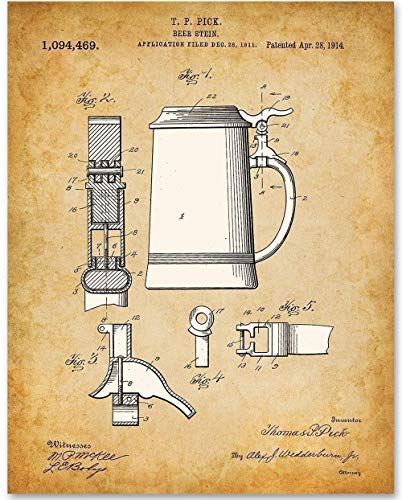 (Beer Stein - 11x14 Unframed Patent Print - Makes a Great Gift Under $15 for Beer Lovers, Home Brewers, Home Bar or Man Cave)