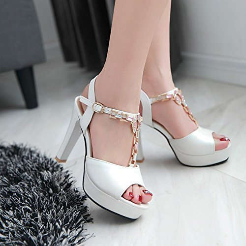 Easemax Womens Elegant Rhinestone Buckled T-Strap Peep Toe Bridal Shoes Platform Chunky High Heel Sandals White Ufjvs80R4P