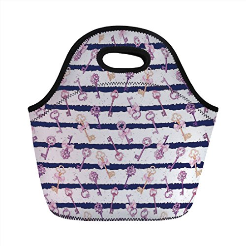 Diamond Journey Ribbon - Neoprene Lunch Bag,Girls,Old Medieval Vintage Keys with Ribbons and Diamonds Striped Pattern in French Style,Purple Blue,for Kids Adult Thermal Insulated Tote Bags
