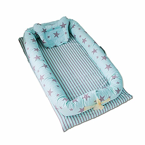 Ukeler Portable Crib - Baby Bassinet for Bed - Stars Green Baby Co-Sleeping Cribs & Cradles Lounger Cushion - Perfect for Cuddling, Lounging - Breathable & Hypoallergenic - Safety Sleeping by Ukeler