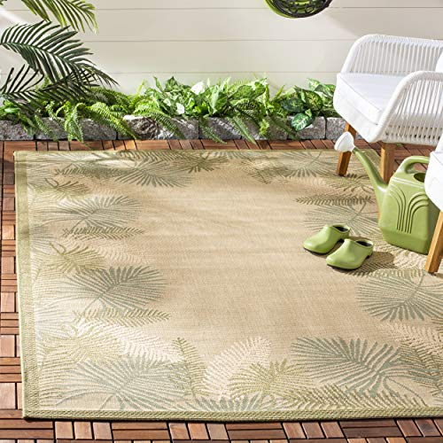 Safavieh Courtyard Collection CY7945-14A18 Cream and Green Indoor/ Outdoor Area Rug (8' x 11')