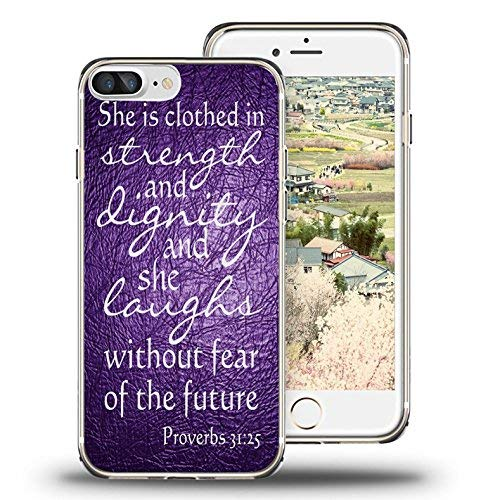 iPhone 7 Case, iPhone 8 Case, Viwell TPU Soft Case Rubber Silicone Quotes Proverbs 31:25 purple