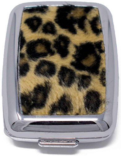 Faux Fur Leopard Print Pocket Purse Portable Pill Box (2 Compartments)